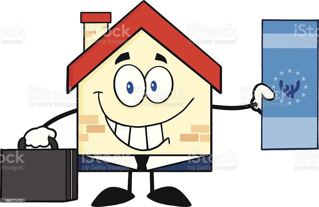 Smiling House Businessman Showing A Euro Bill vector art illustration
