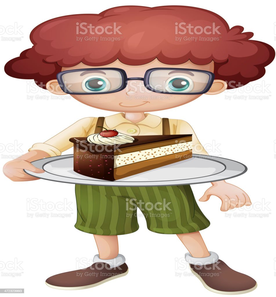 Smiling kid and a slice of cake vector art illustration