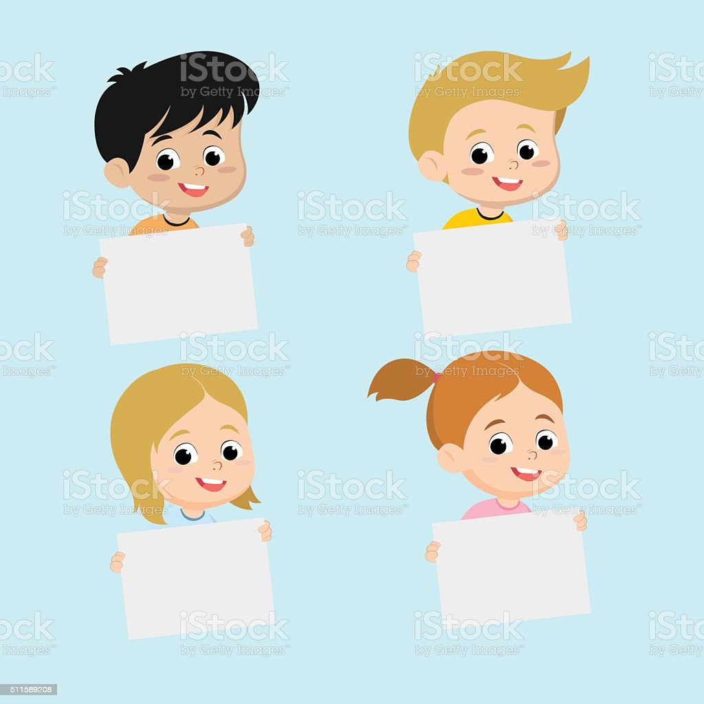 Souriant enfants tenant vide à repasser. stock vecteur libres de droits libre de droits