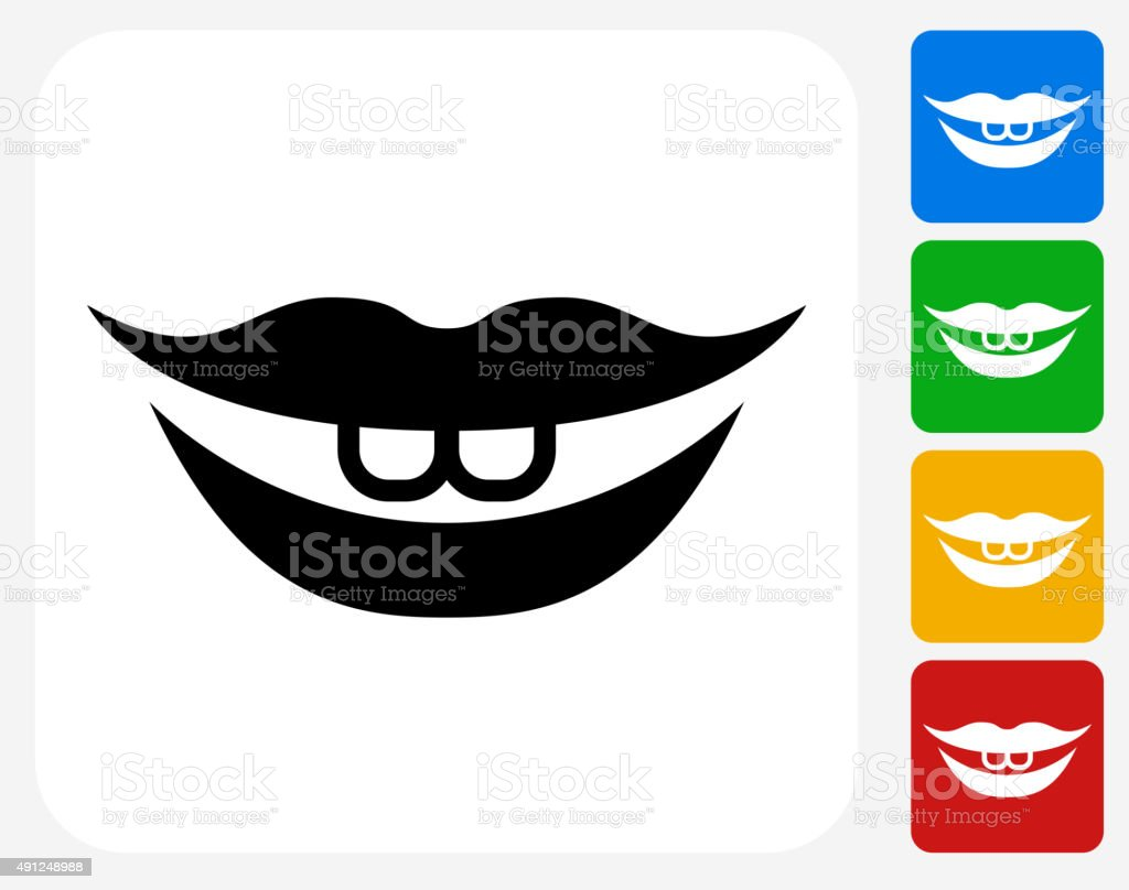 Smiling Lips Icon Flat Graphic Design vector art illustration