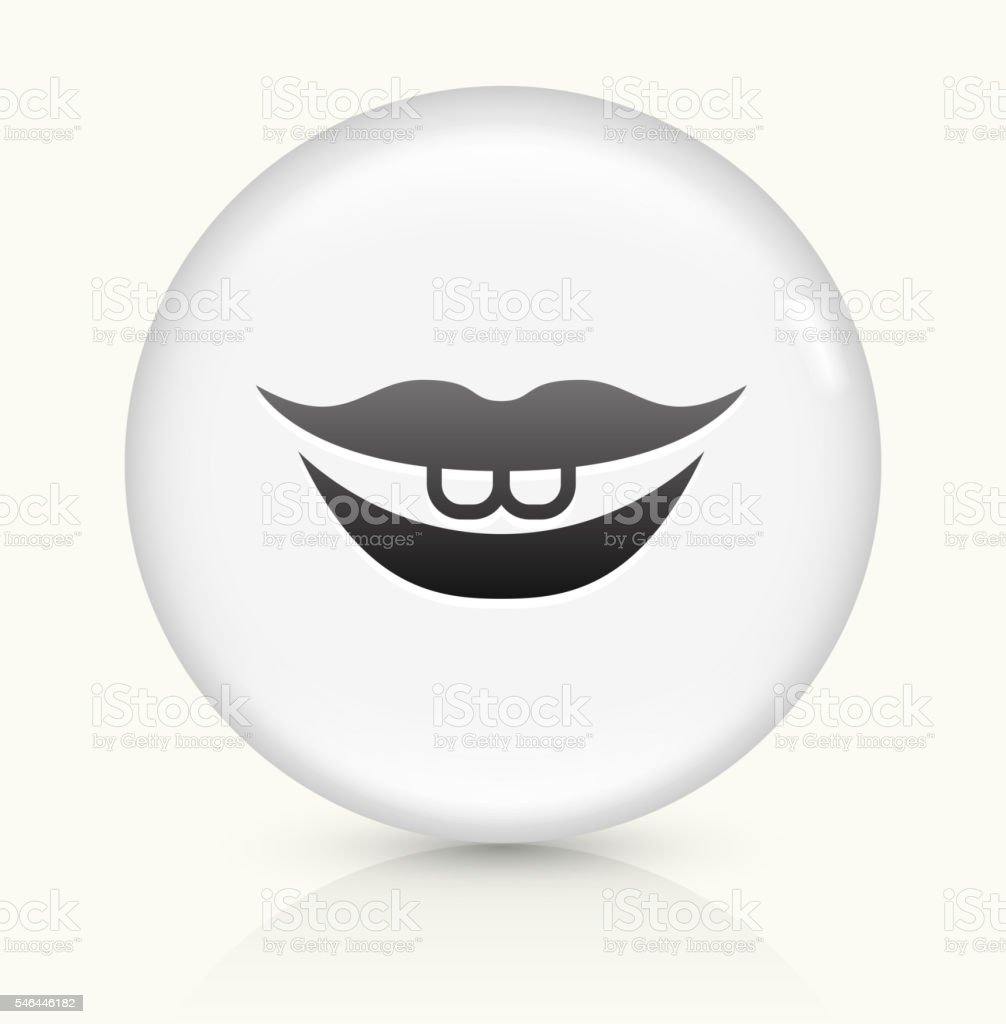Smiling Lips icon on white round vector button vector art illustration