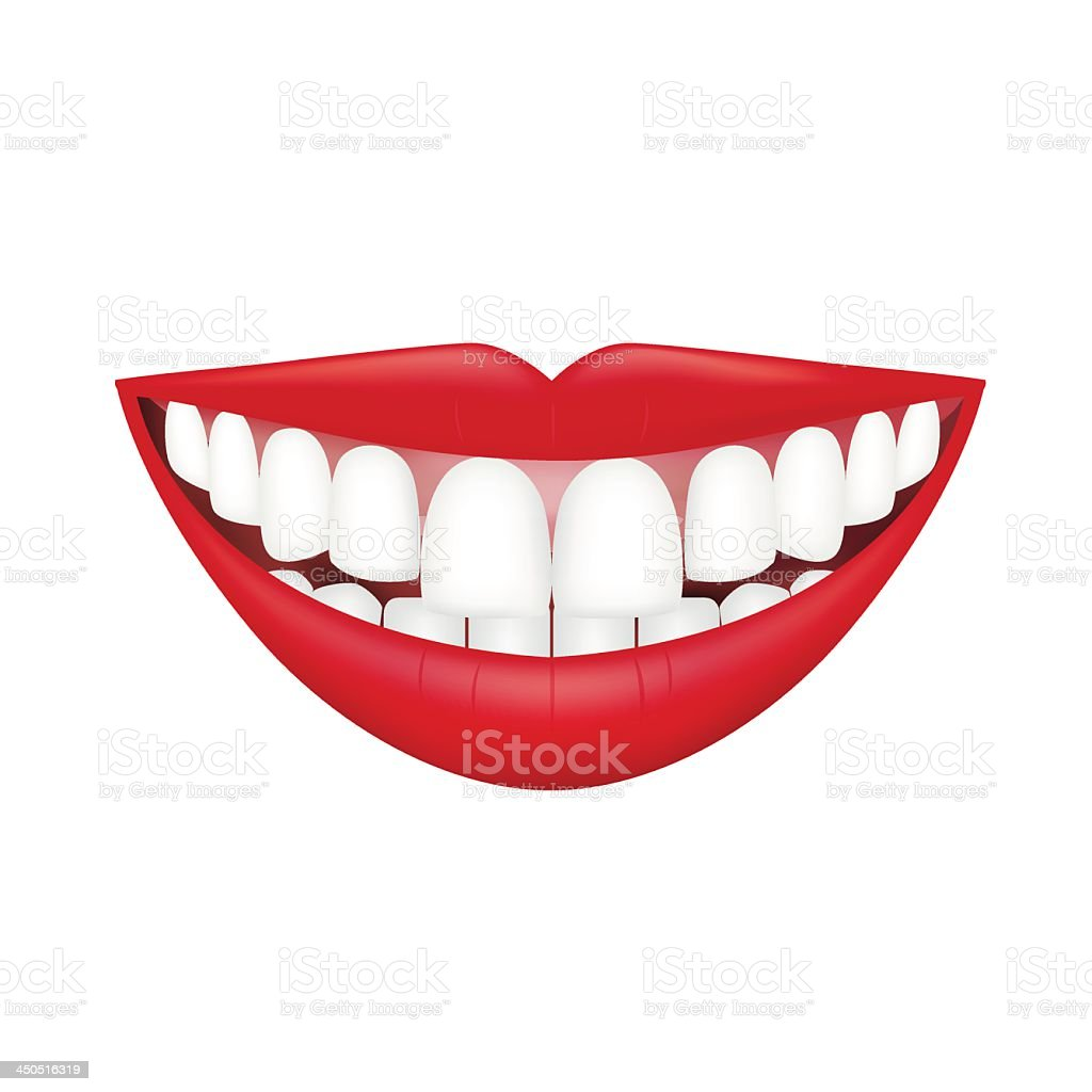 Smiling lips showing teeth isolated on white vector art illustration