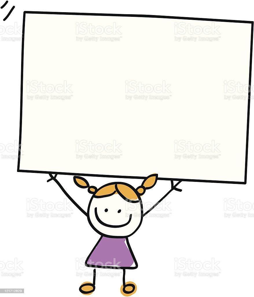 smiling little girl kid holding blank banner cartoon illustration royalty-free stock vector art