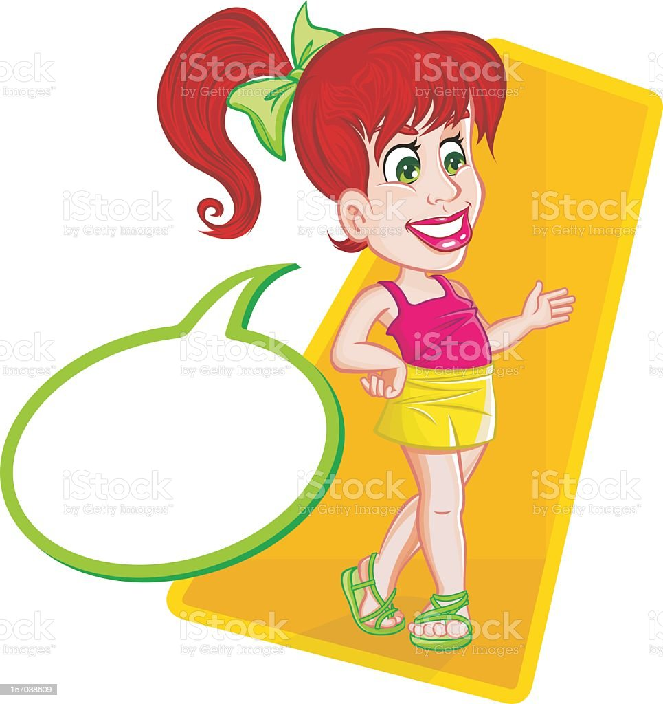 Smiling little girl walking and talking royalty-free stock vector art