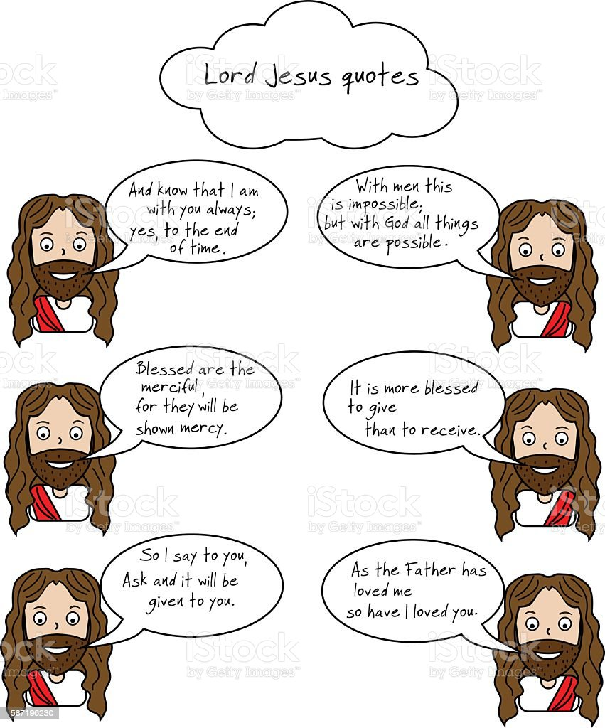 Smiling Lord Jesus and Bible quotes with verses vector art illustration