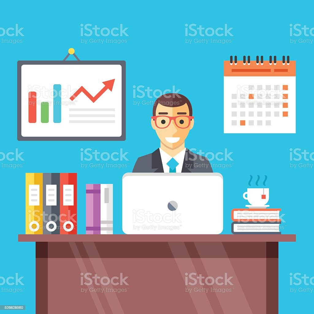 Smiling man at work in office. Flat vector illustration vector art illustration