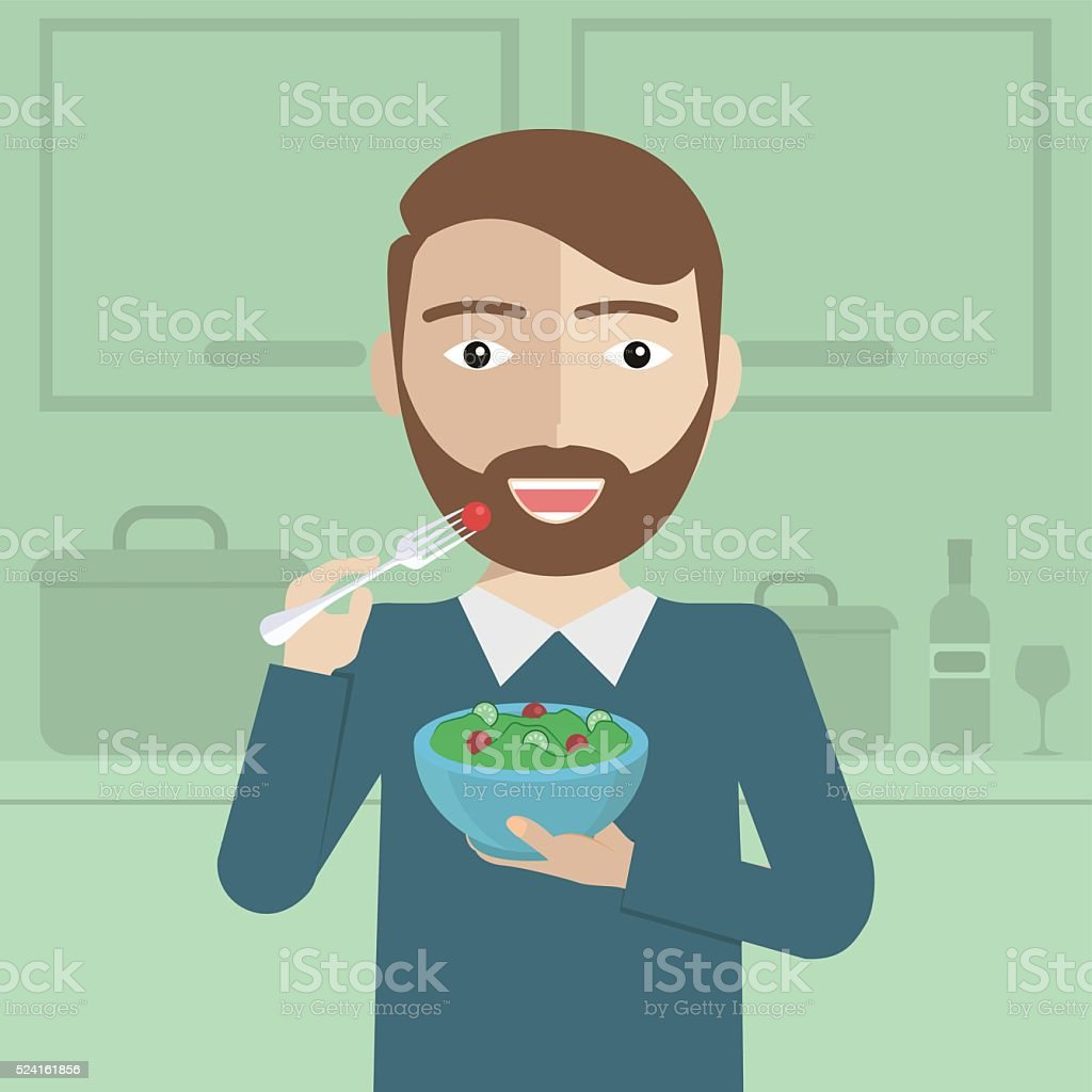 Smiling man eating salad in kitchen vector flat design illustration vector art illustration