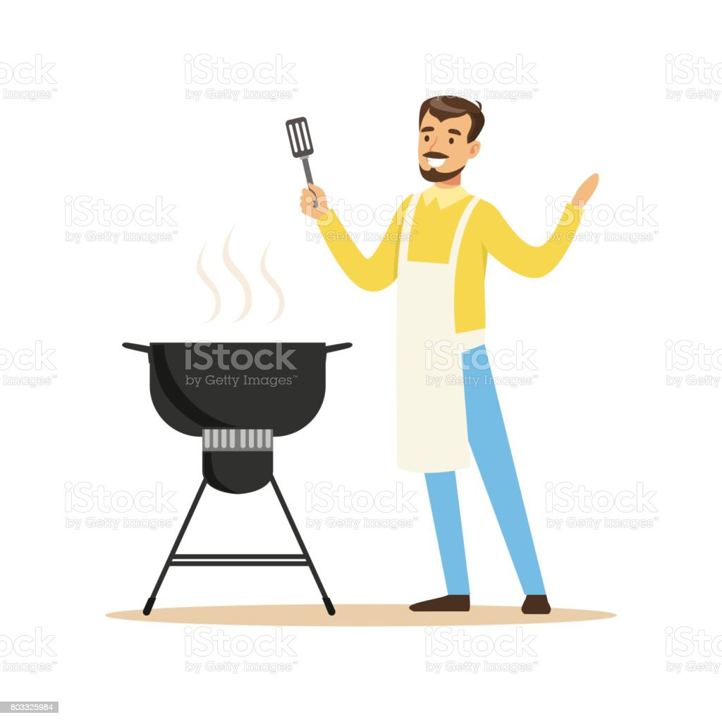 Smiling man in apron preparing barbecue on a grill vector Illustration vector art illustration