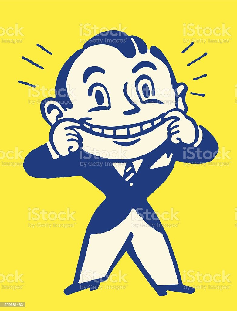 Smiling Man in Suit Pulling Mouth Open vector art illustration