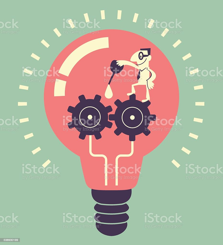Smiling man lubricating gears with gear oil in idea bulb vector art illustration