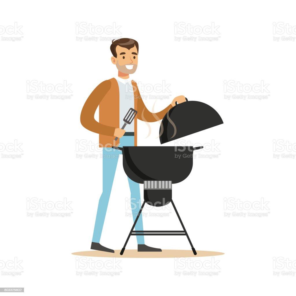 Smiling man preparing barbecue on a grill vector Illustration vector art illustration