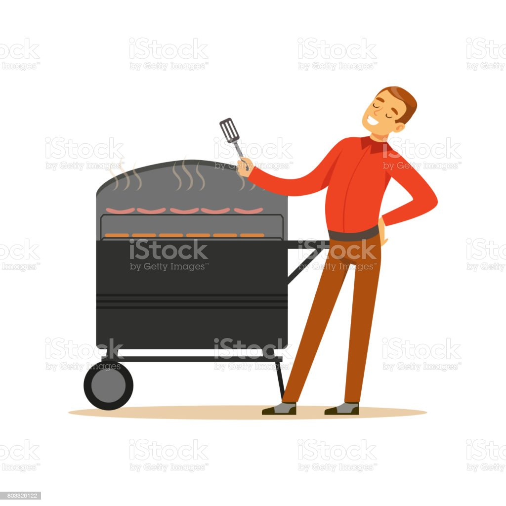 Smiling man preparing sausages and steaks on a barbecue grill vector Illustration vector art illustration