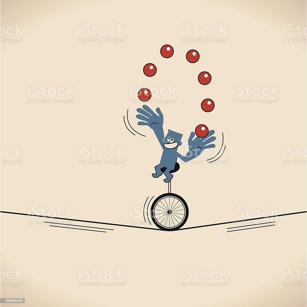 Smiling man (businessman), Unicycle juggling balls vector art illustration