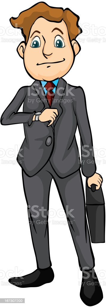 Smiling man with bag royalty-free stock vector art