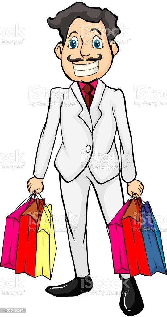 Smiling man with bags royalty-free stock vector art