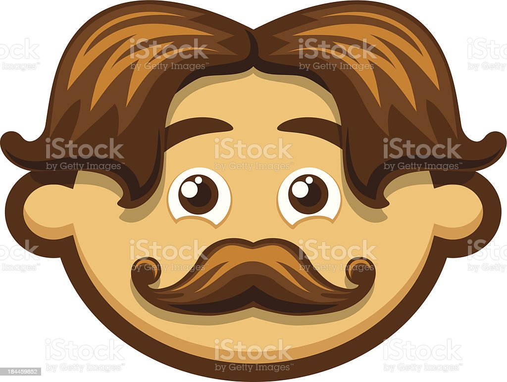 Smiling Man with mustache royalty-free stock vector art