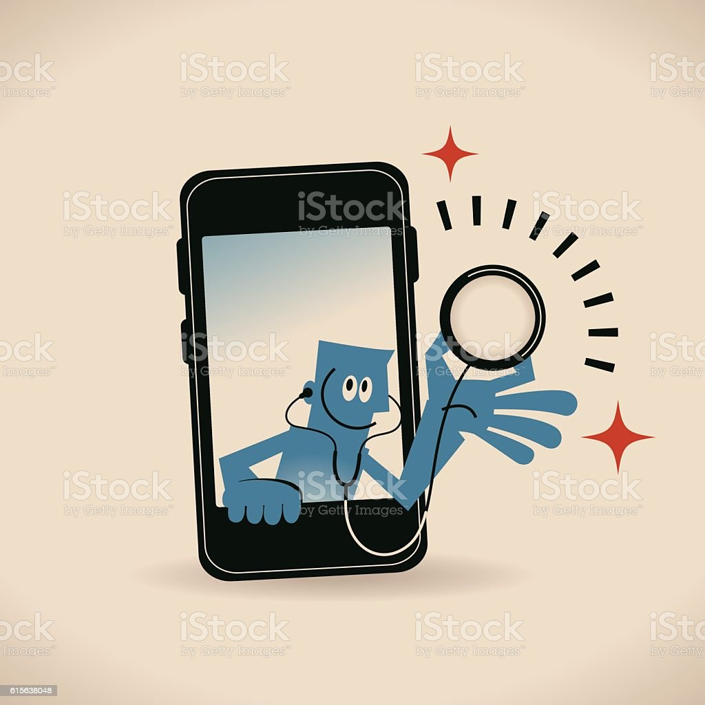 Smiling man (doctor) with Stethoscope and Smart Phone vector art illustration