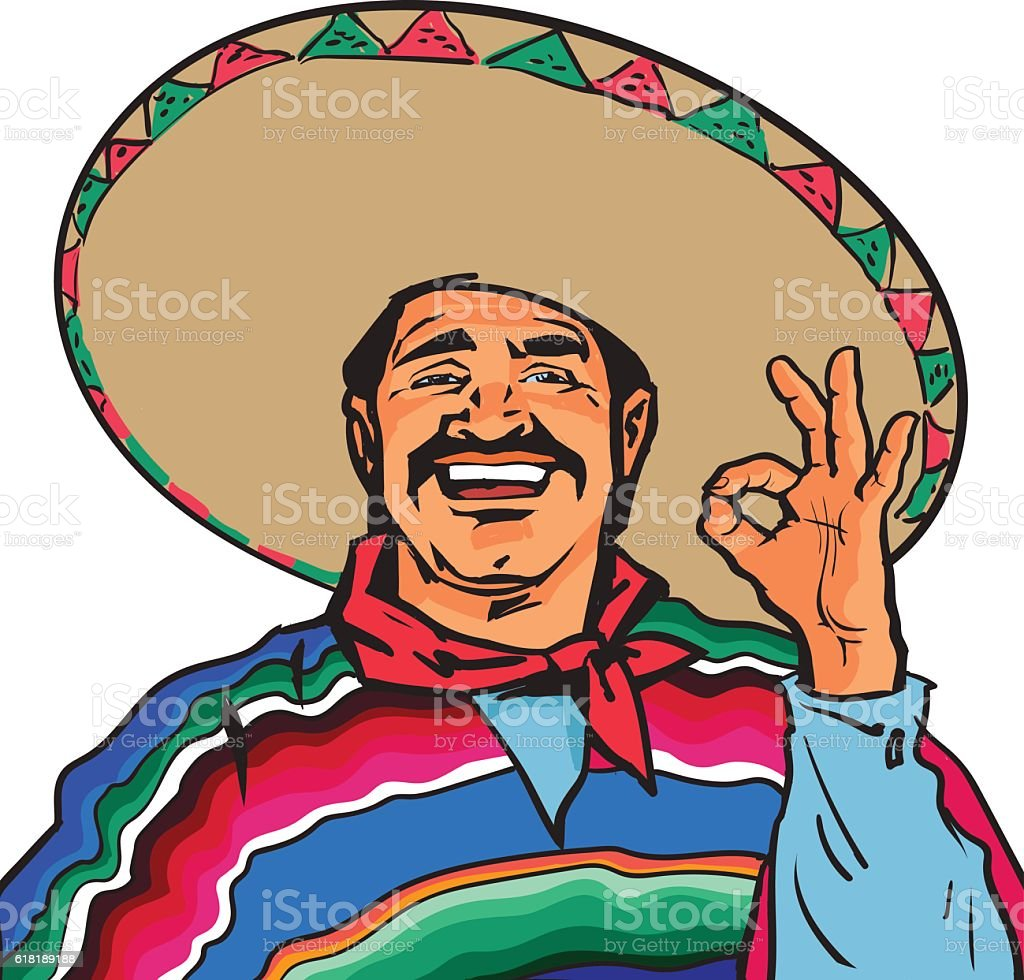Smiling Mexican man in sombrero and poncho showing okey sign vector art illustration