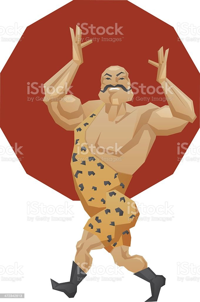 smiling mighty strongman goes in parade alle royalty-free stock vector art