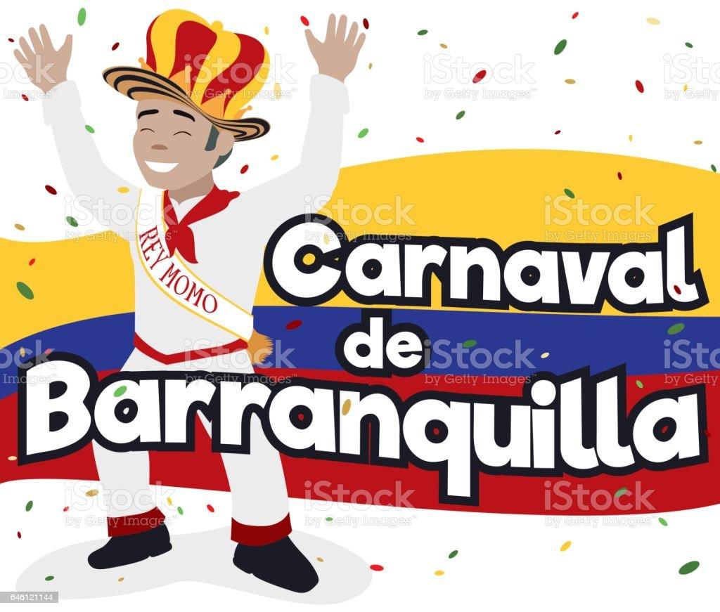 Smiling Momo King with Confetti in Barranquilla's Carnival Celebration vector art illustration