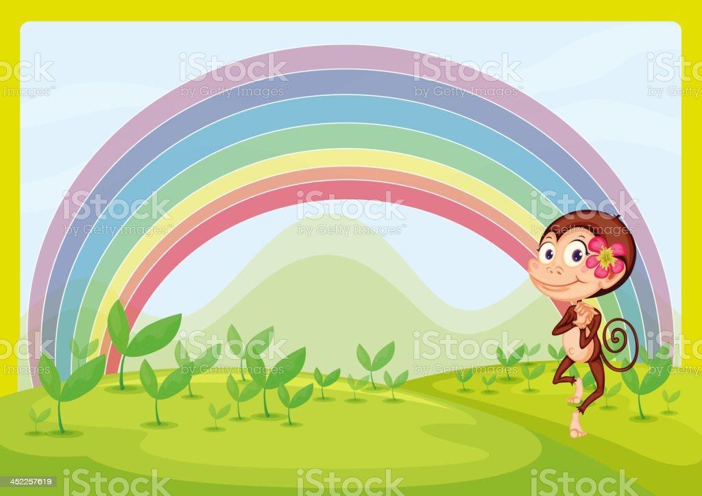 smiling monkey and a rainbow royalty-free stock vector art