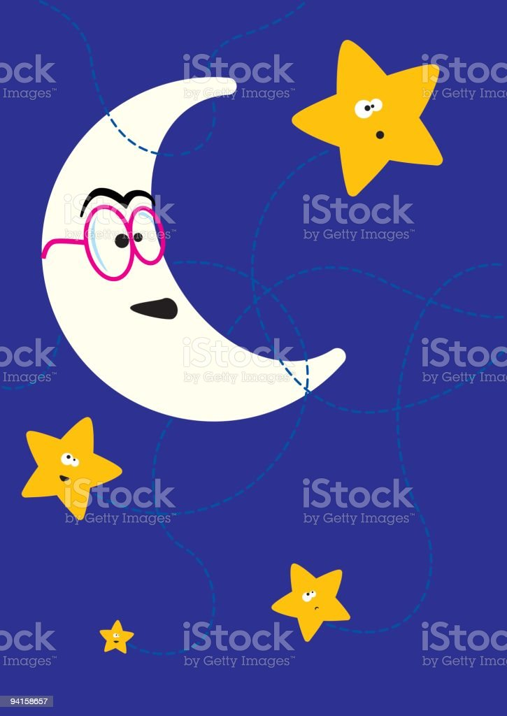 Smiling Moon Playing With the Stars royalty-free stock vector art