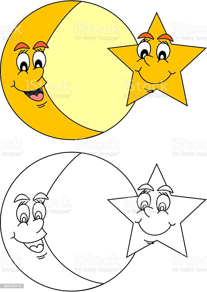 Smiling moon with star vector art illustration