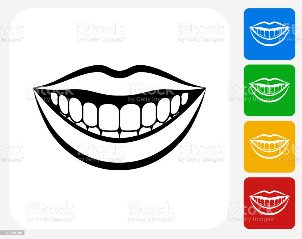 Smiling Mouth Icon Flat Graphic Design vector art illustration