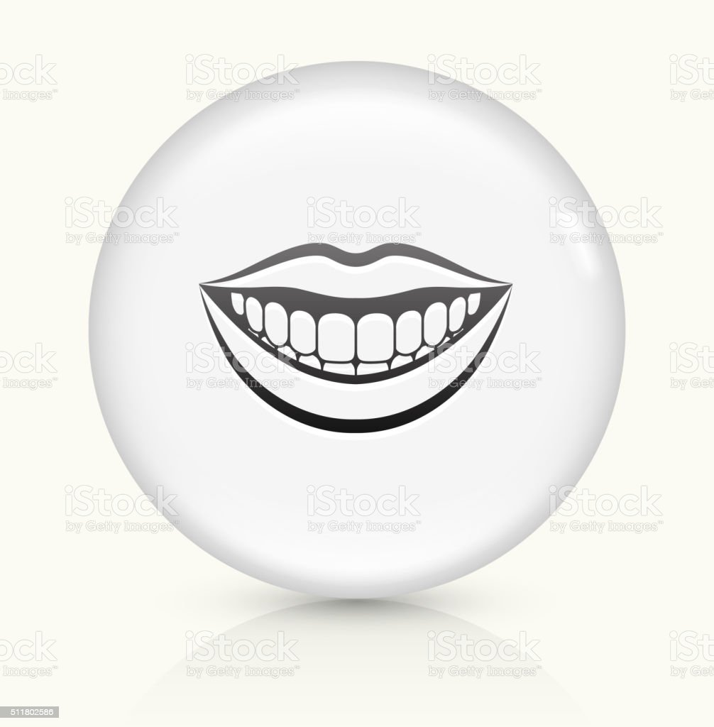 Smiling Mouth icon on white round vector button vector art illustration