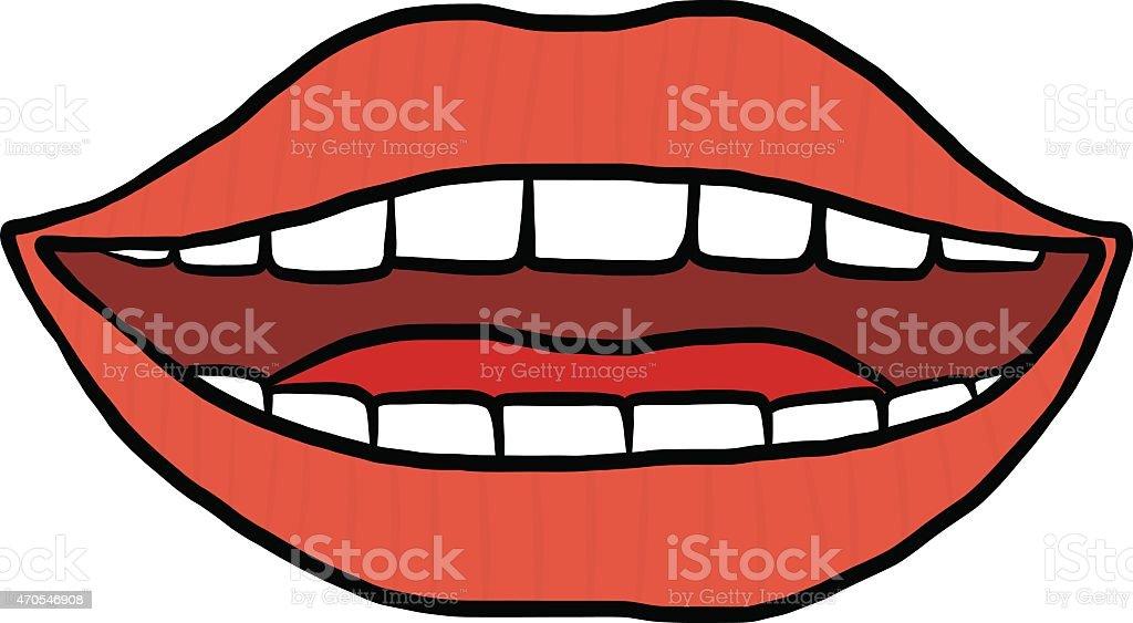 smiling mouth vector art illustration