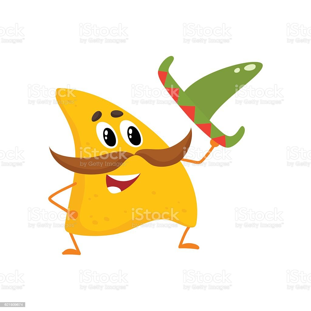 Smiling nachos with thick moustache and Mexican sombrero vector art illustration