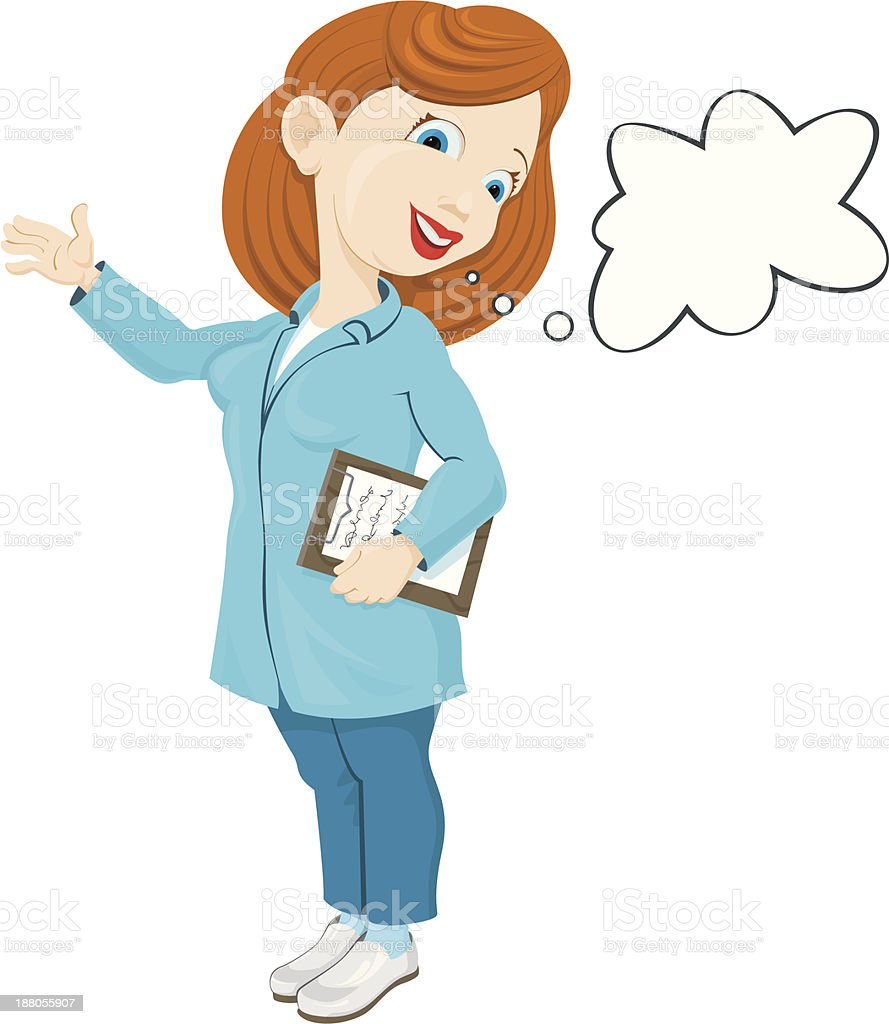 smiling nurse in a lab coat royalty-free stock vector art