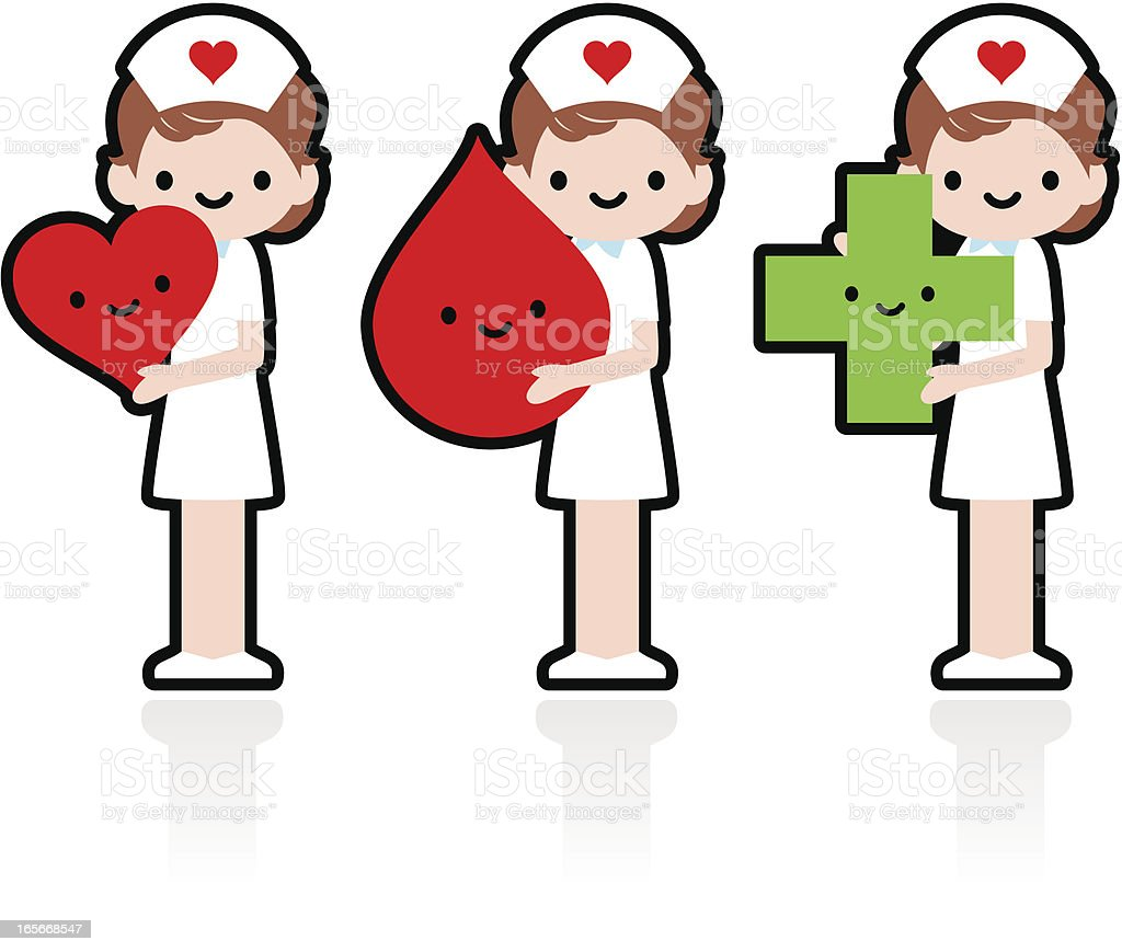 Smiling Nurse Showing Love Heart, Blood Donation royalty-free stock vector art