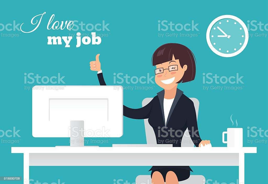 Smiling  office worker at her desk doing thumb up sign vector art illustration