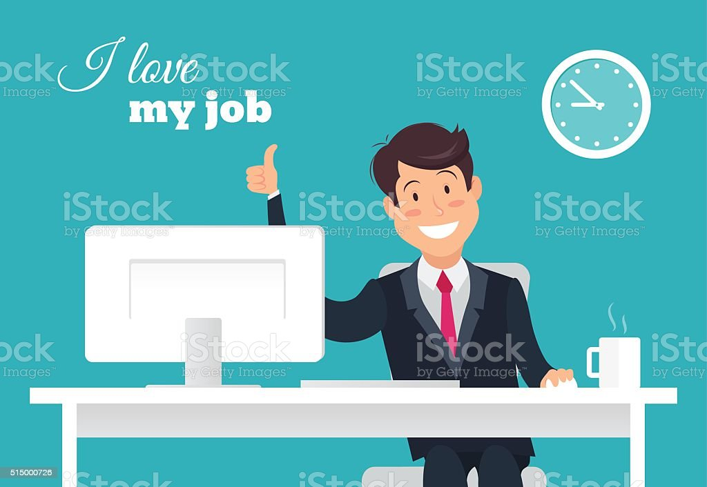 Smiling  office worker at his desk doing thumb up sign vector art illustration
