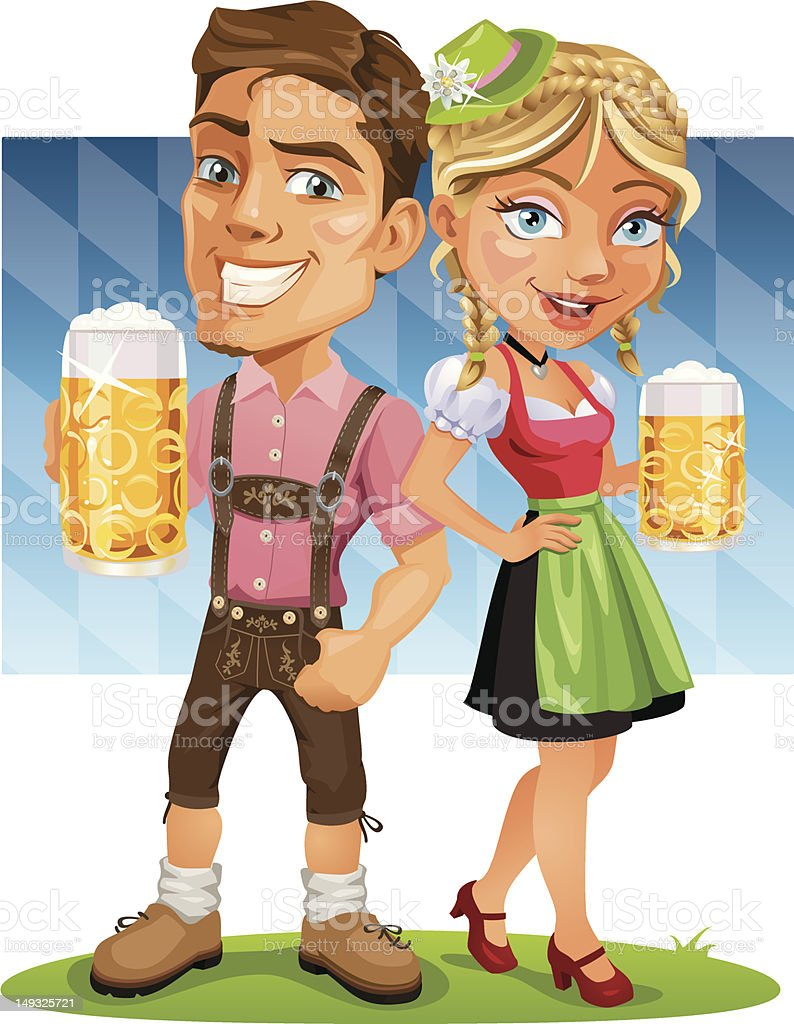 Smiling Oktoberfest Couple holding Beer with Bavarian Flag royalty-free stock vector art