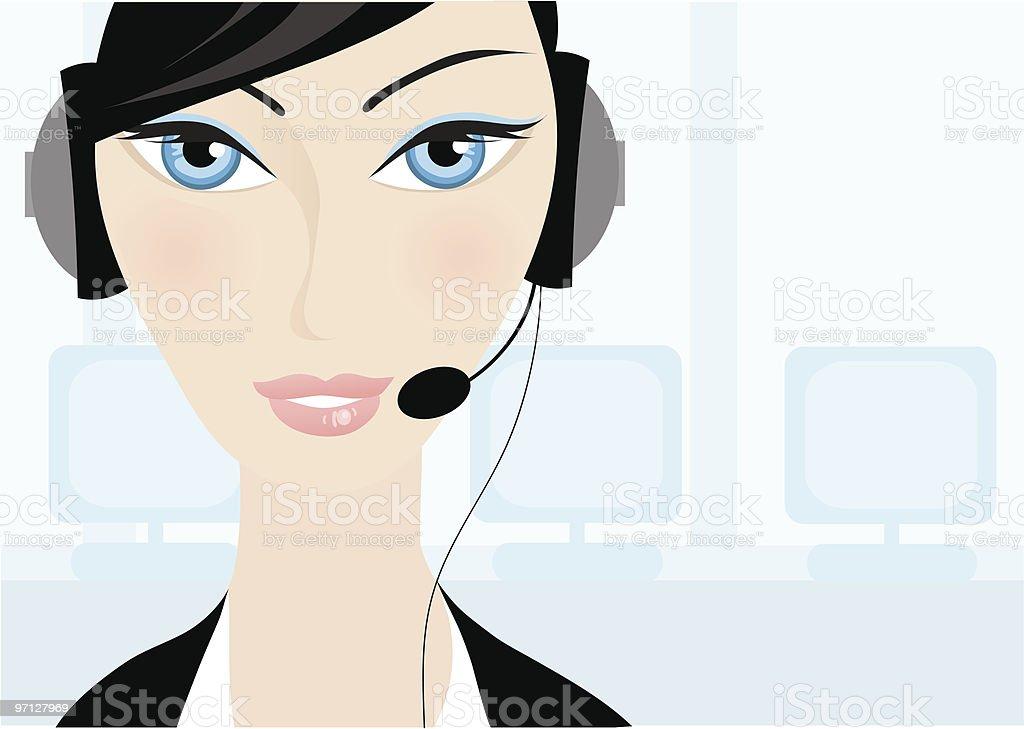 Smiling operator woman royalty-free stock vector art