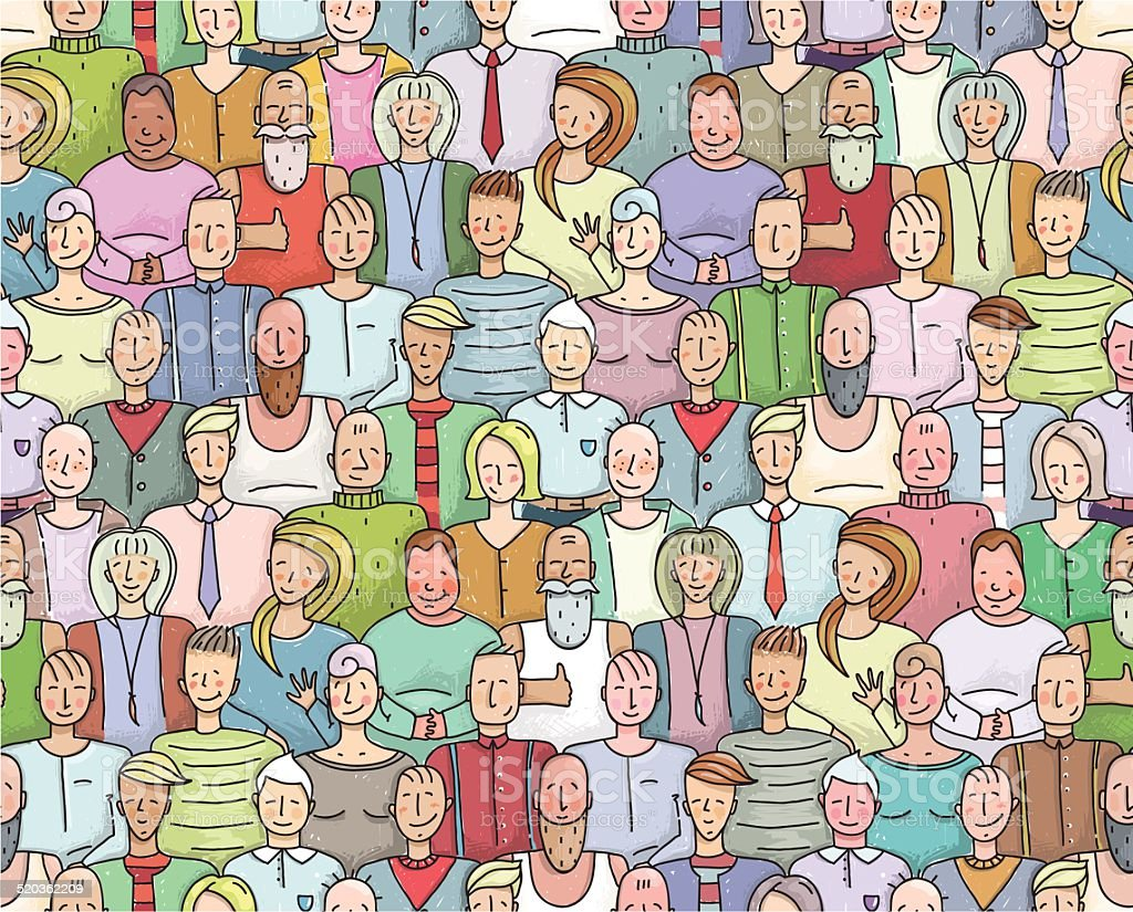 Smiling People Crowd Collective Portrait Seamless Pattern vector art illustration