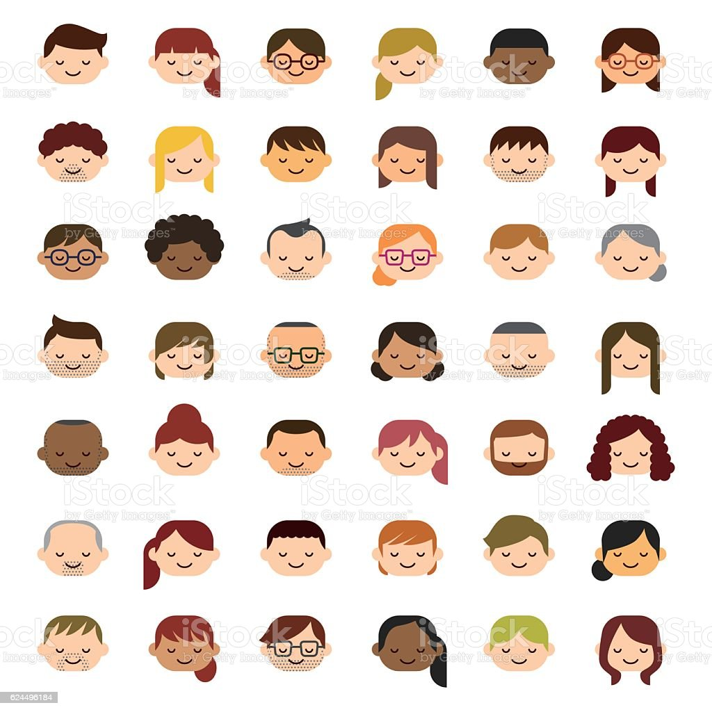 Smiling people icons vector art illustration