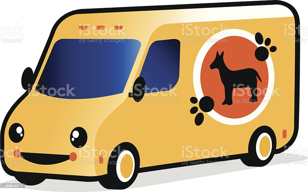 smiling pet shop van royalty-free stock vector art