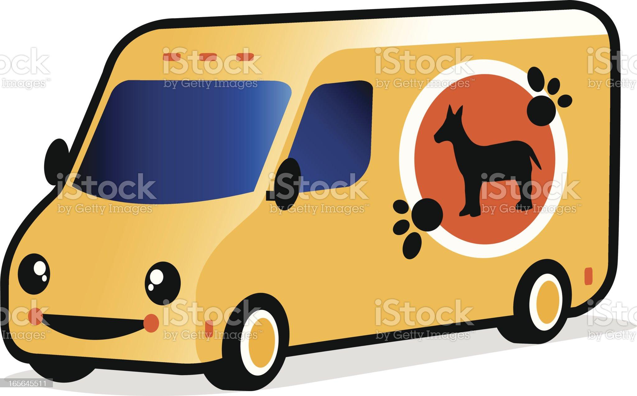 smiling pet shop van royalty-free stock vector art