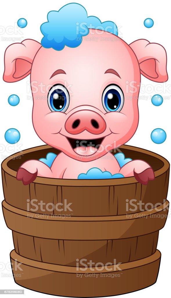 Smiling pig cartoon bathing vector art illustration