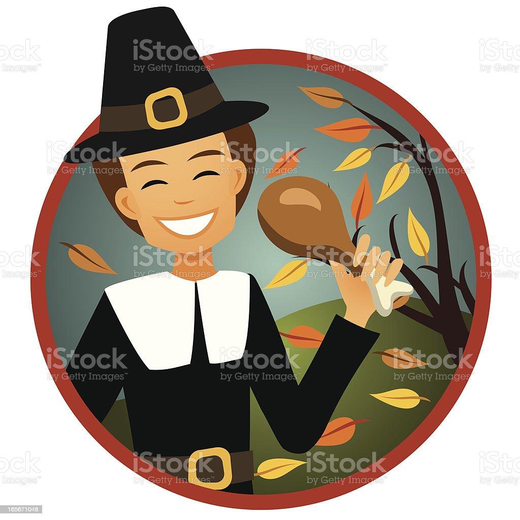 Smiling Pilgrim Man with Turkey Leg royalty-free stock vector art
