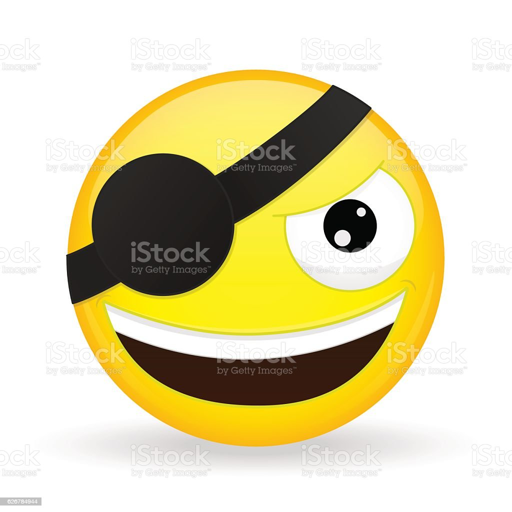 Smiling pirate emoji. Happy emotion. Villain emoticon. vector art illustration