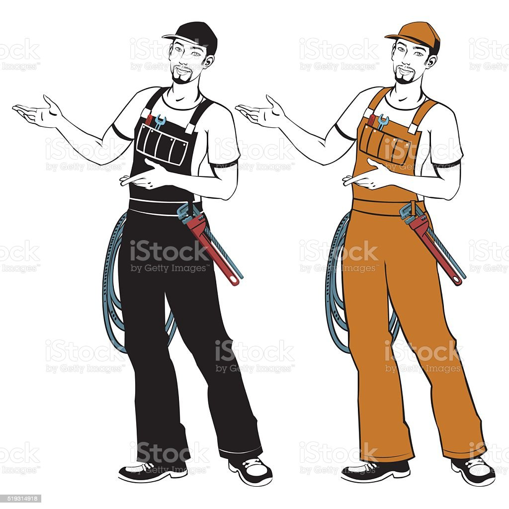 smiling plumber in overalls royalty-free stock vector art