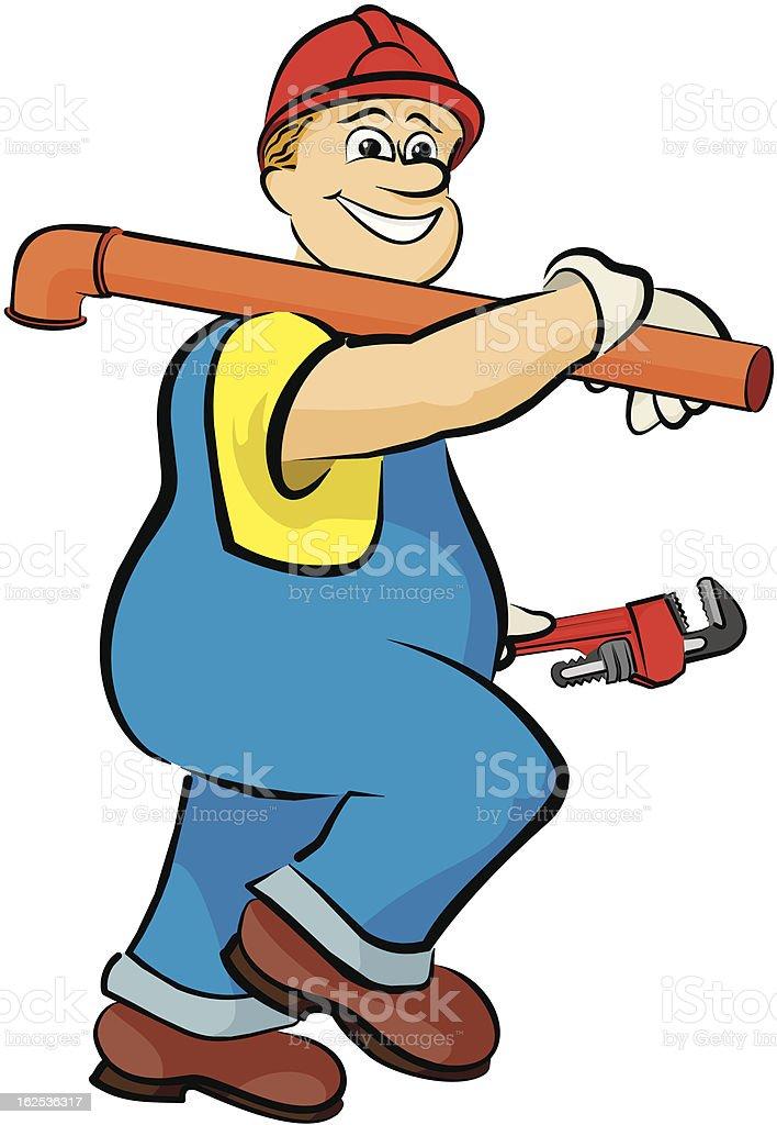 smiling plumber royalty-free stock vector art