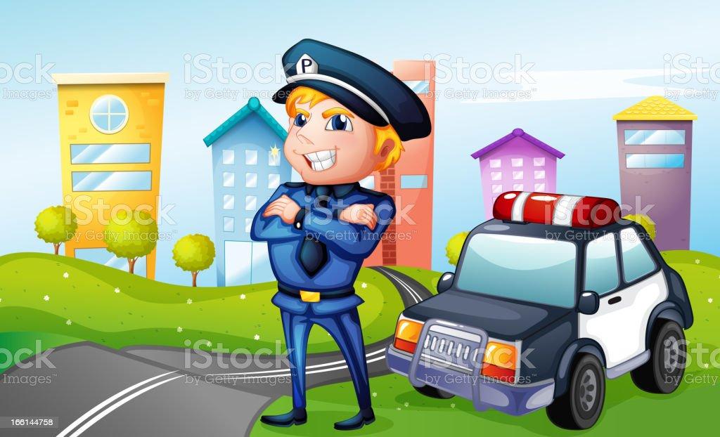 Smiling policeman at the road royalty-free stock vector art