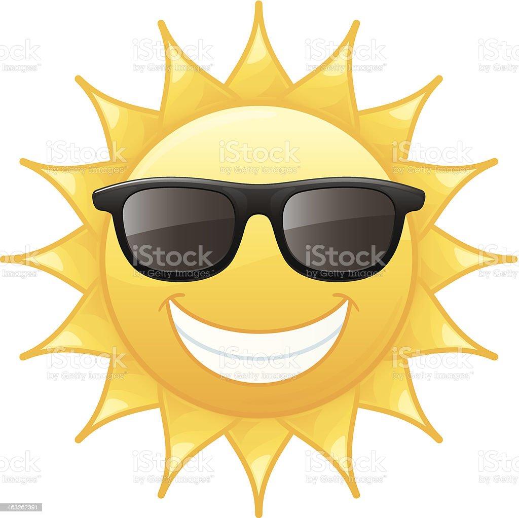 Smiling Radiant Yellow Summer Sun Wearing Black Sunglasses Vector Illustration vector art illustration