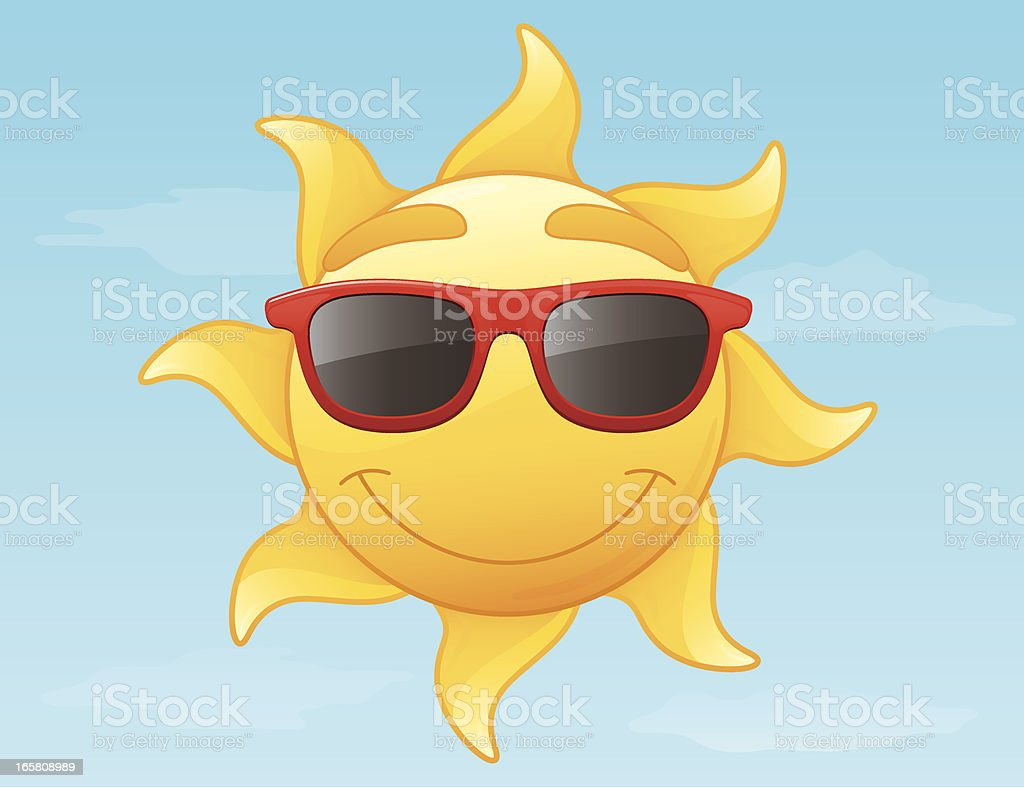 Smiling Radiant Yellow Summer Sun Wearing Red Sunglasses Vector Illustration royalty-free stock vector art