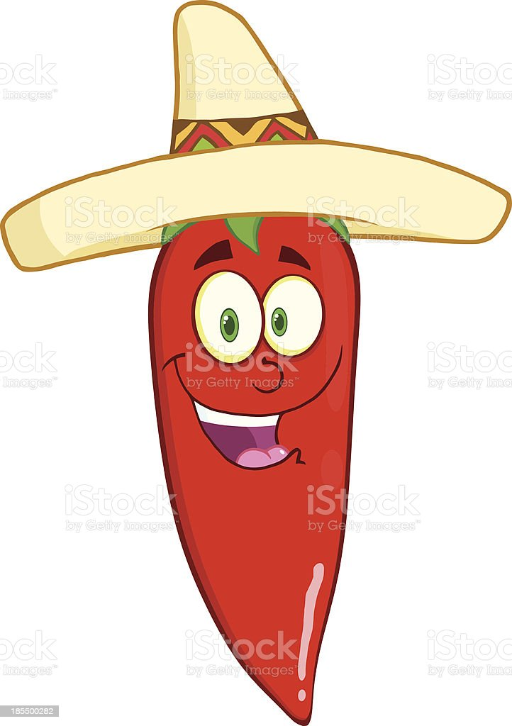 Smiling Red Chili Pepper Cartoon Mascot Character With Mexican Hat royalty-free stock vector art